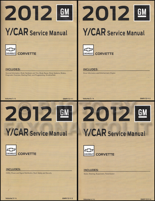2012 Chevrolet Corvette Repair Shop Manual Original 4 Volume Set