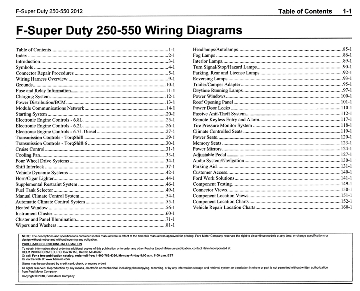 2012FordFSuperDuty250550OWD TOC 2012 ford f 250 thru 550 super duty wiring diagram manual original