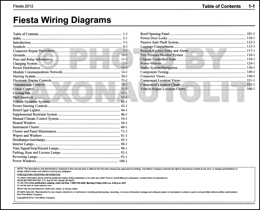 2012 Ford Fiesta Wiring Diagram Manual Original · Table of Contents Page