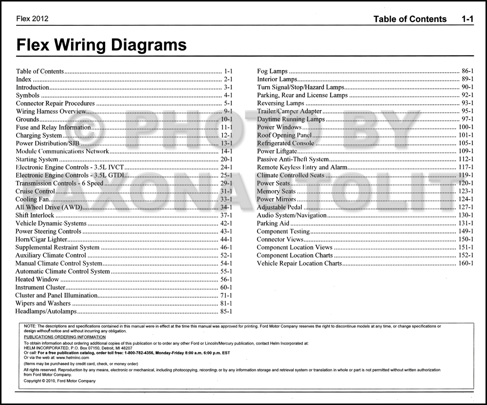 Ford Flex Wiring Schematic Library 21340101 Timer Diagram For Defrost 2012 Manual Original Table Of Contents Page