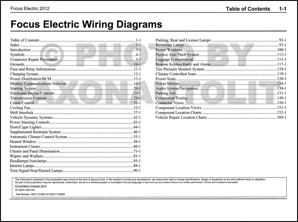 2012 Ford Focus Electric Wiring Diagram Manual OriginalFaxon Auto Literature