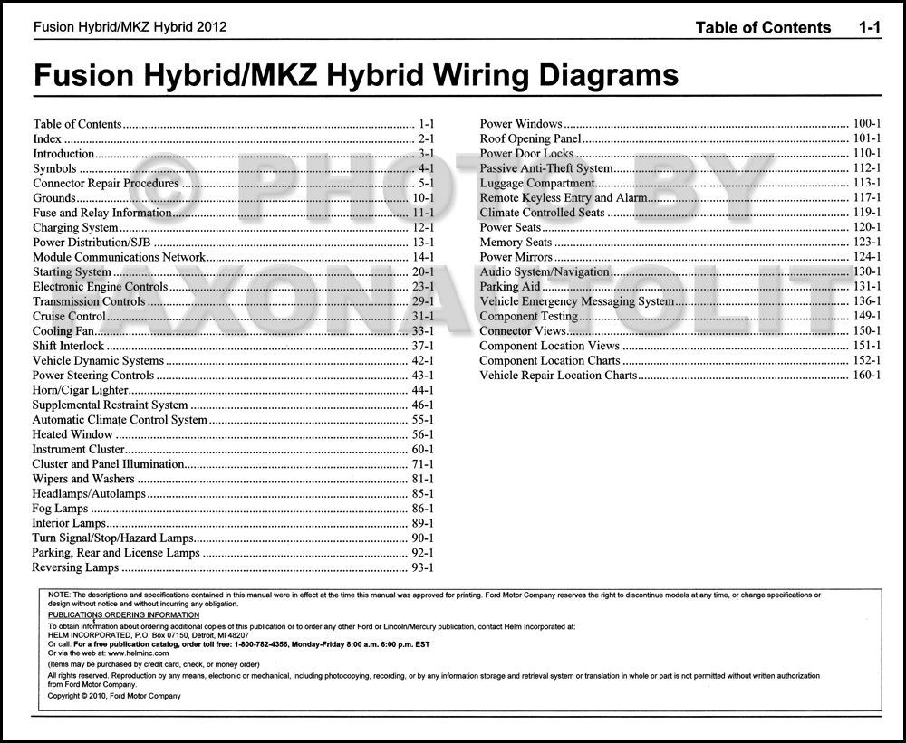 2012 Hybrid Ford Fusion Lincoln Mkz Wiring Diagram Manual Original Table Of Contents Page
