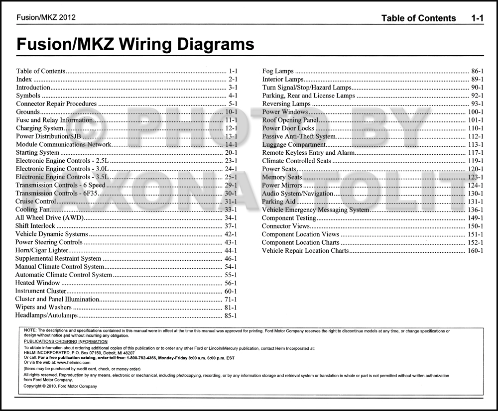 2012 Ford Fusion Lincoln MKZ Wiring Diagram Manual Original · Table of  Contents Page