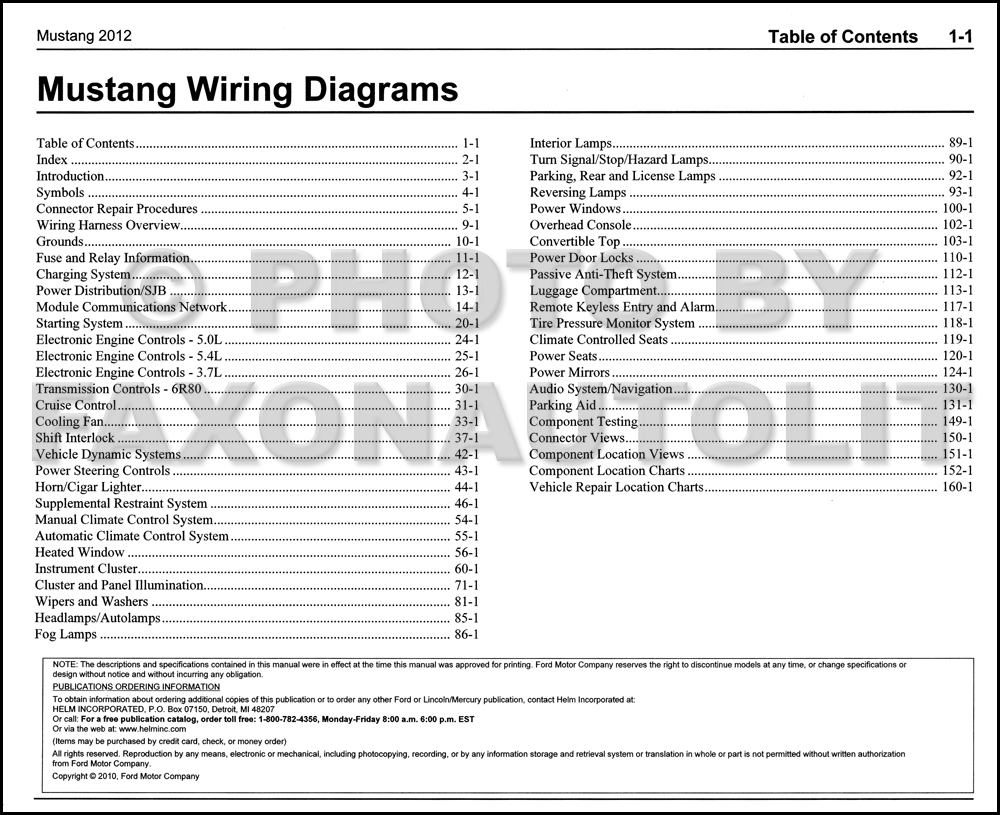 2012 Ford Mustang Wiring Diagram Manual Original