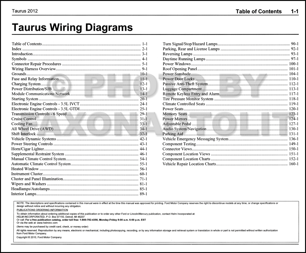 2012 ford taurus wiring diagram manual original  faxon auto literature