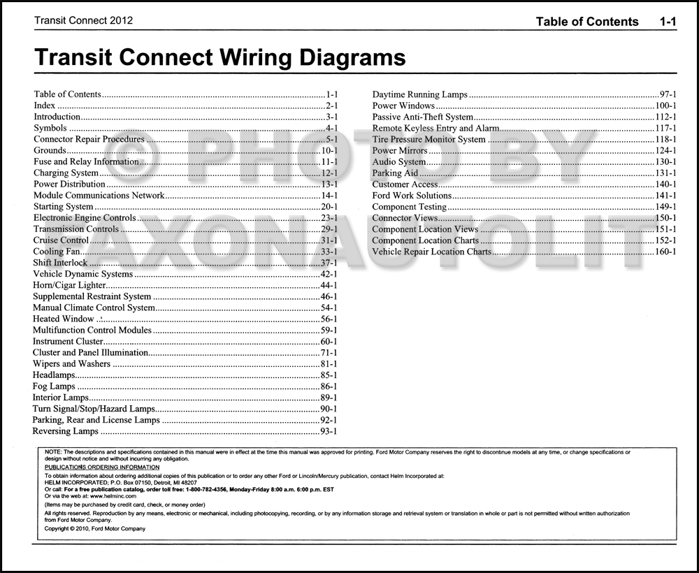 2012 Ford Transit Connect Wiring Diagram Manual Original 31 Table Of Contents Page