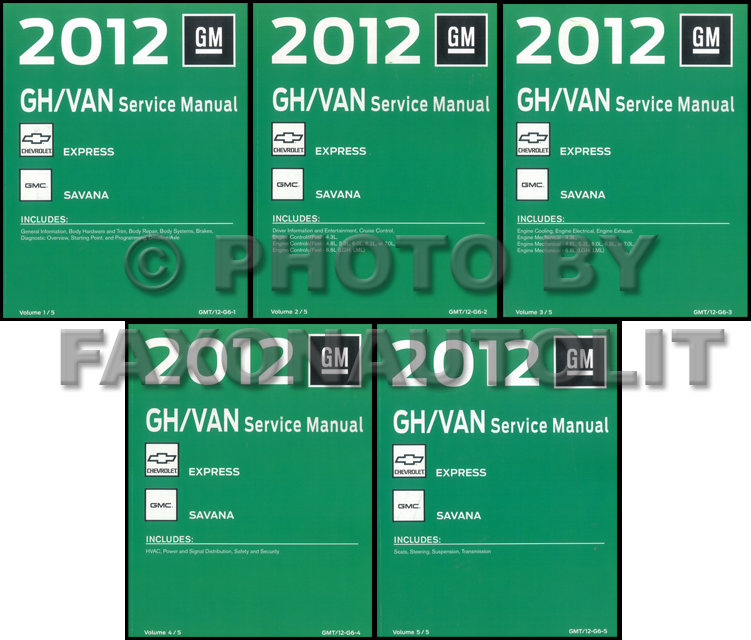 2012 Express Van Savana Repair Shop Manual 5 Volume Set Original Chevy GMC