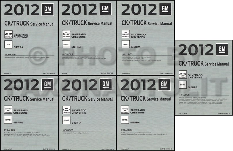 2012 Chevrolet Silverado Cheyenne and GMC Sierra Repair Shop Manual Original 7 Volume Set