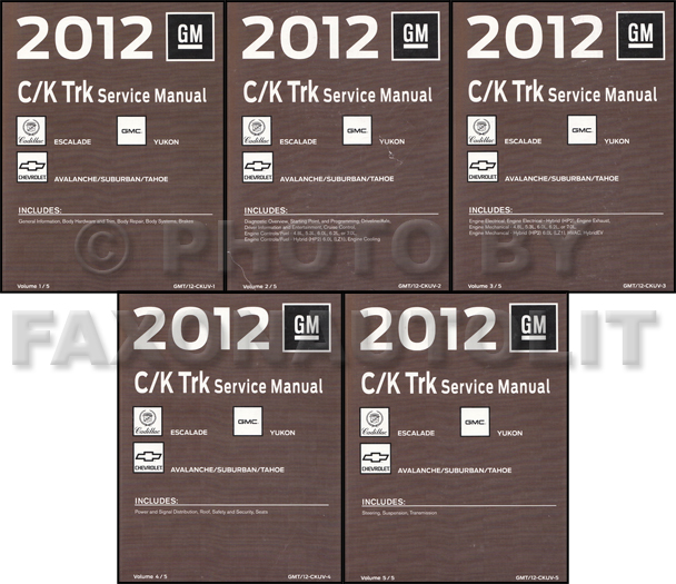 2012 CK SUV Repair Shop Manual Avalanche Suburban Tahoe Yukon Escalade