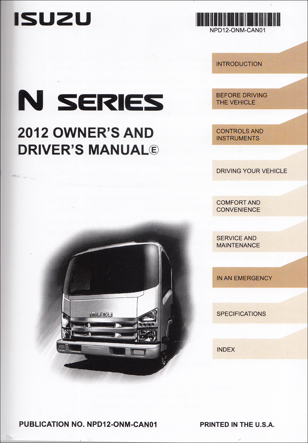 2012 Isuzu NPR NQR NRR Diesel Truck Owner's Manual Original Canadian