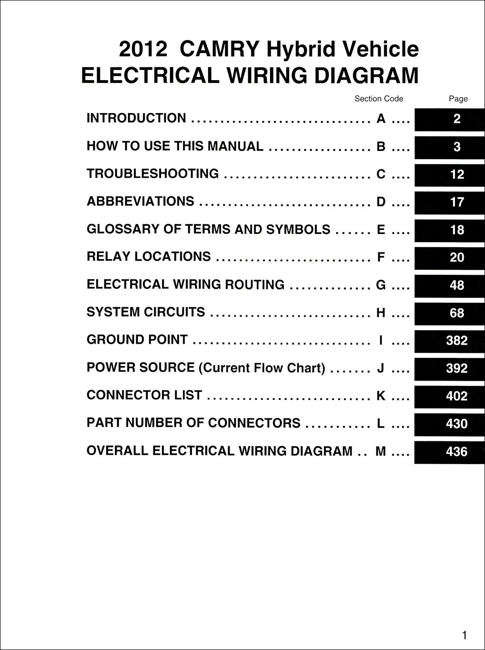 2012 Toyota Camry Hybrid Wiring Diagram Manual Reprint