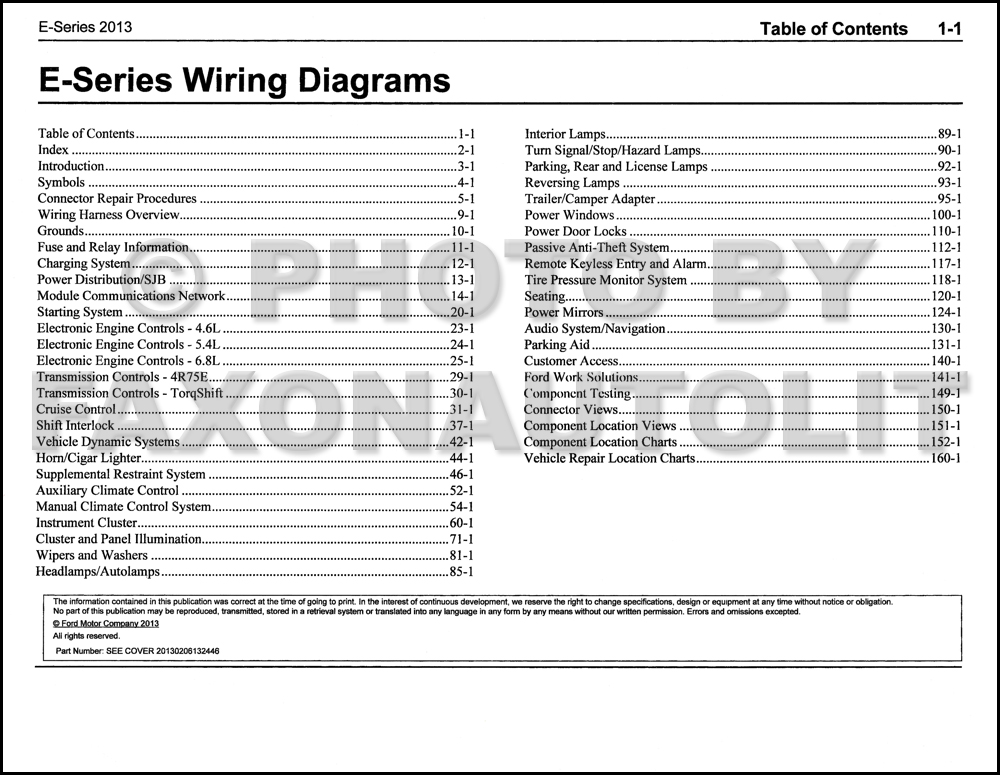 2013FordESeriesEWD TOC 2013 ford econoline wiring diagram manual original van e150 e250
