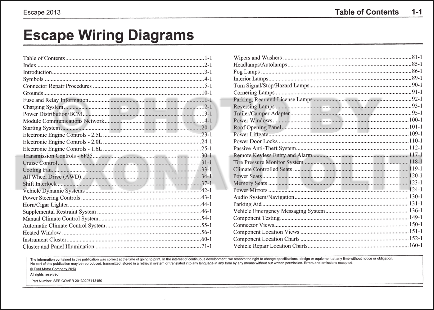 2013 Ford Escape Wiring Diagram Manual Original. click on thumbnail to zoom