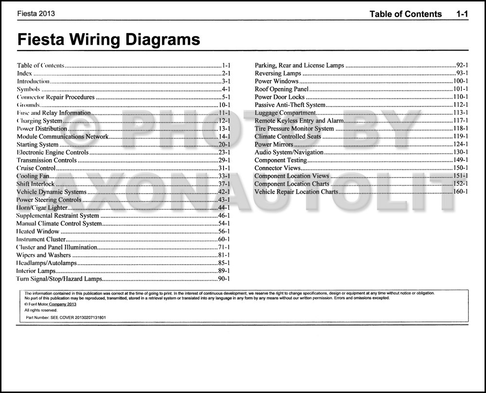 2013 Ford Fiesta Wiring Diagram Manual Original