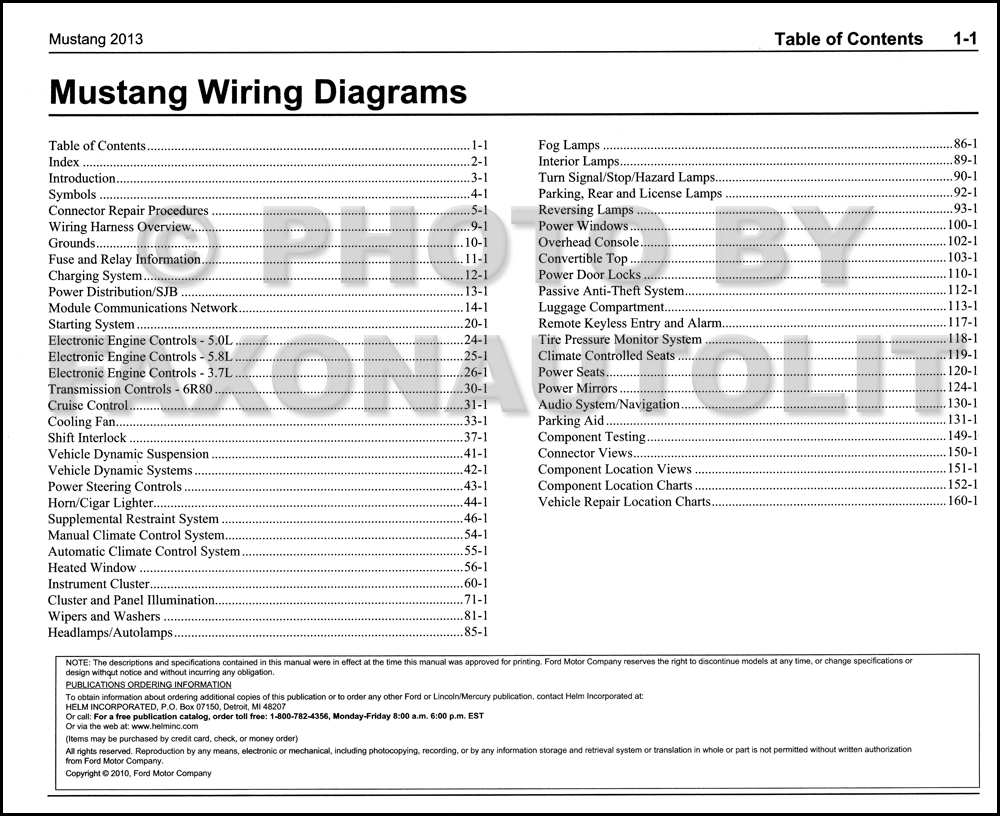 2013 Ford Mustang Wiring Diagram Manual Original · Table of Contents Page