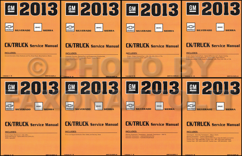 2013 Chevrolet Silverado and GMC Sierra Repair Shop Manual Original 8 Volume Set