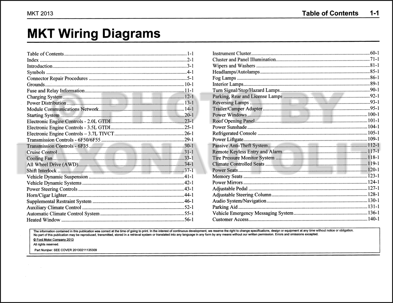 2013 Lincoln Mkt Wiring Diagram Manual Original 1946