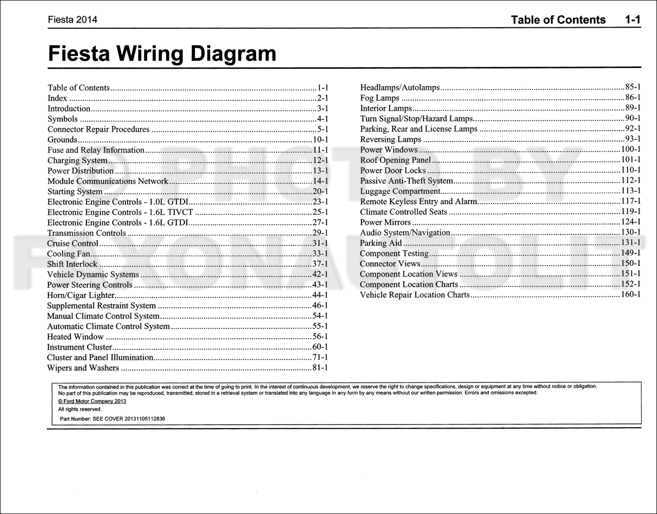 2014 Ford Fiesta Wiring Diagram Manual OriginalFaxon Auto Literature