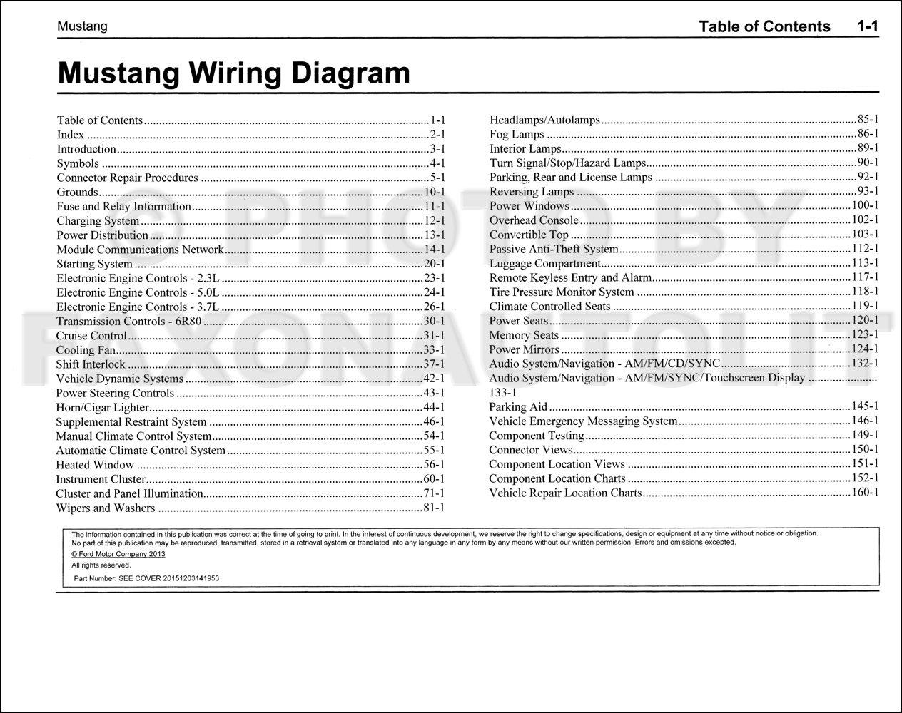 2015 Ford Mustang Wiring Diagram Manual Original Complete
