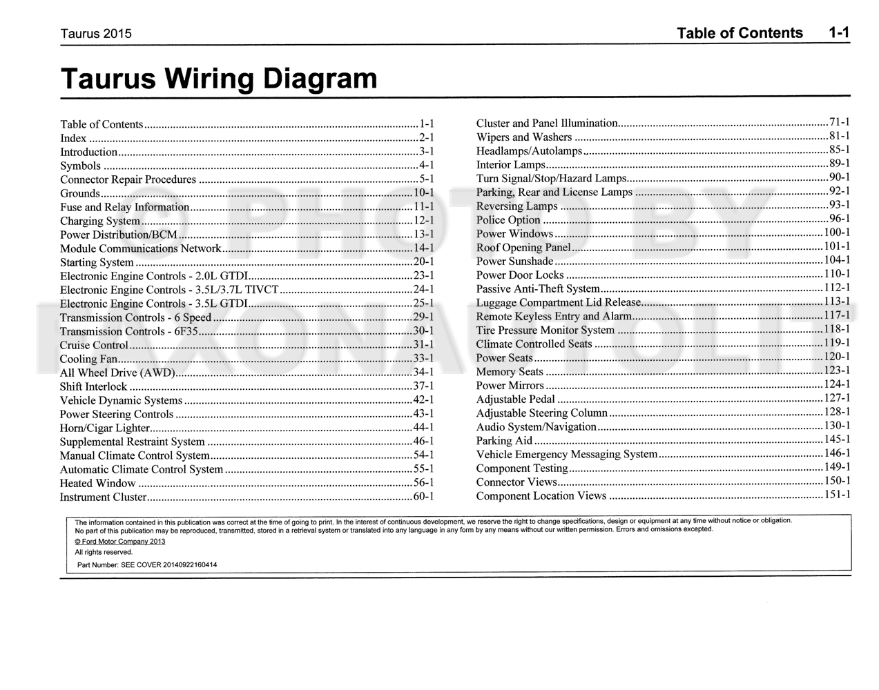 [DIAGRAM_38IS]  2015 Ford Taurus Wiring Diagram Manual Original | 2015 Ford Taurus Wiring Diagrams |  | Faxon Auto Literature