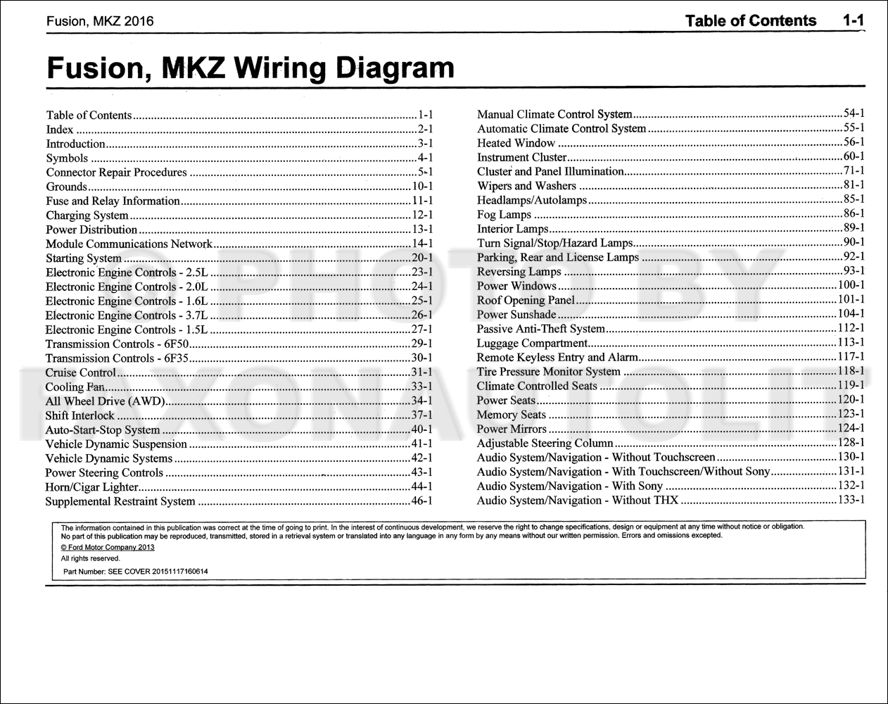 Wiring Diagram For Fusion Data Schematic 2008 Ranger 2016 Ford Lincoln Mkz Manual Original Rh Faxonautoliterature Com Tail Lights Fuse 37