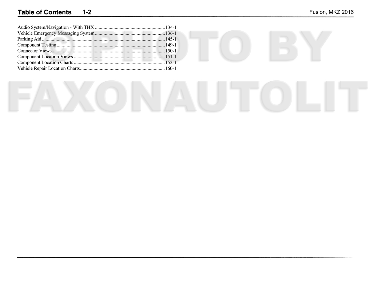 2016 Ford Fusion Lincoln Mkz Wiring Diagram Manual Original 1946