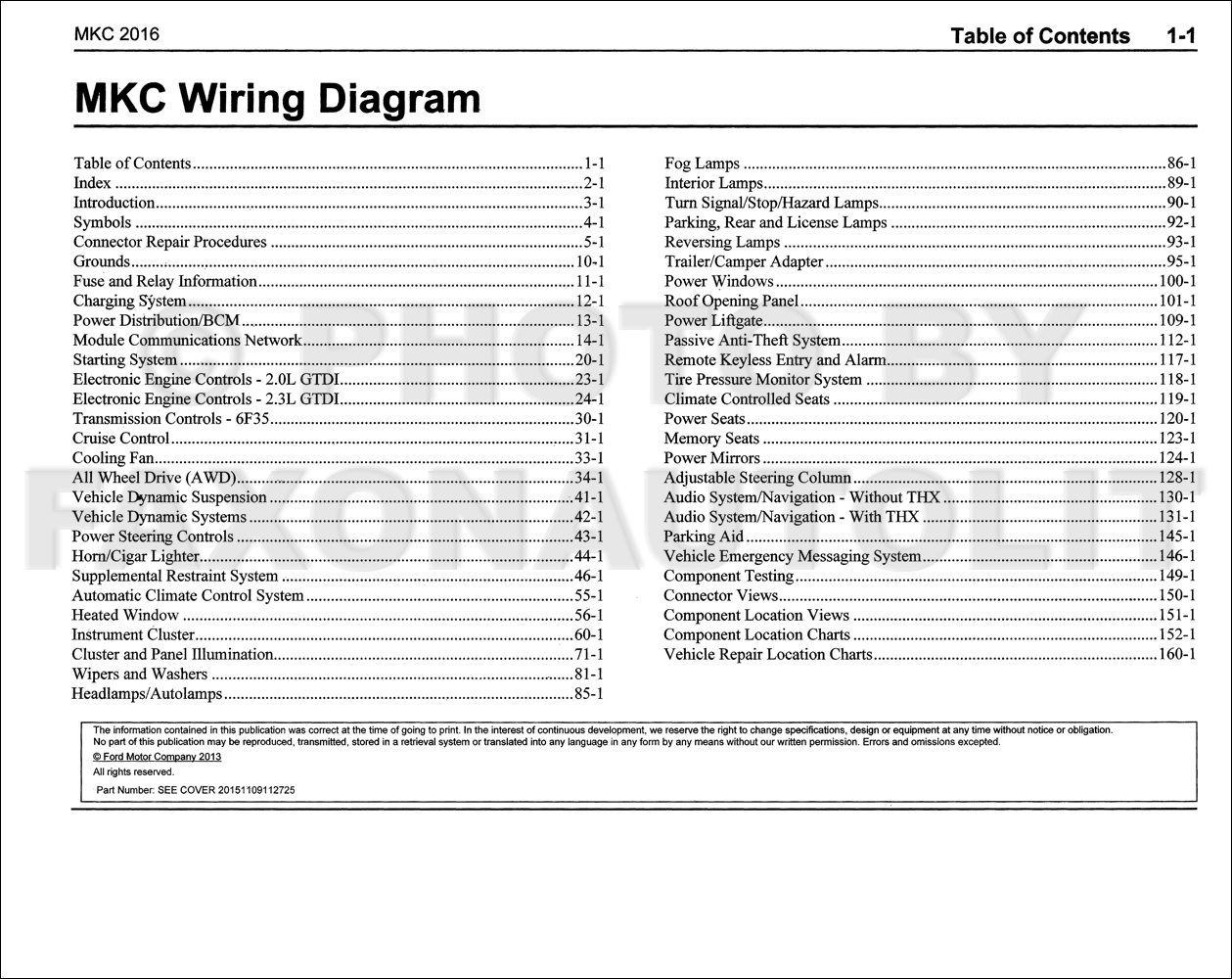 2016 Lincoln Mkc Wiring Diagram Manual Original 1946