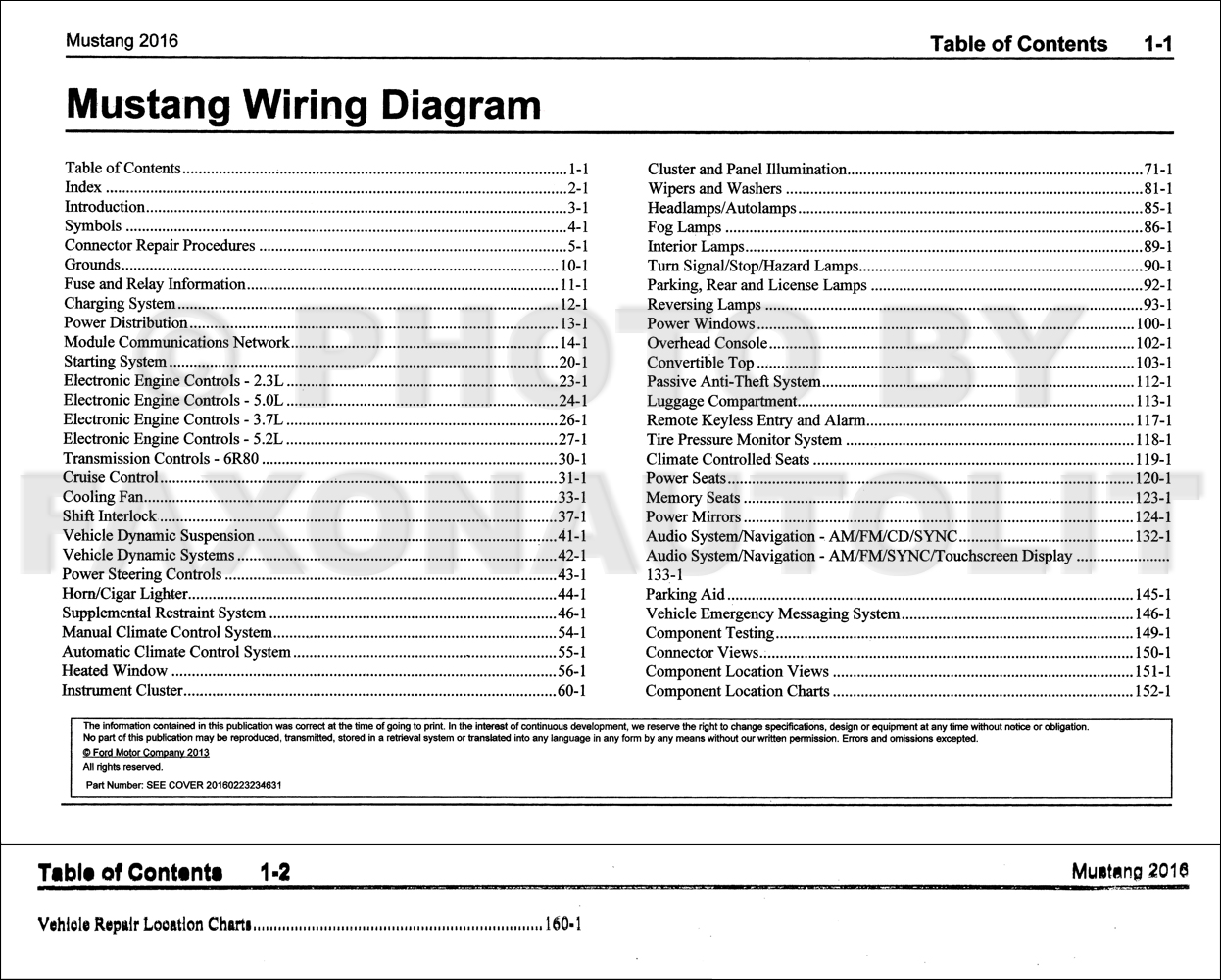 2016 Ford Mustang Wiring Diagram Manual Original 1941 Harness