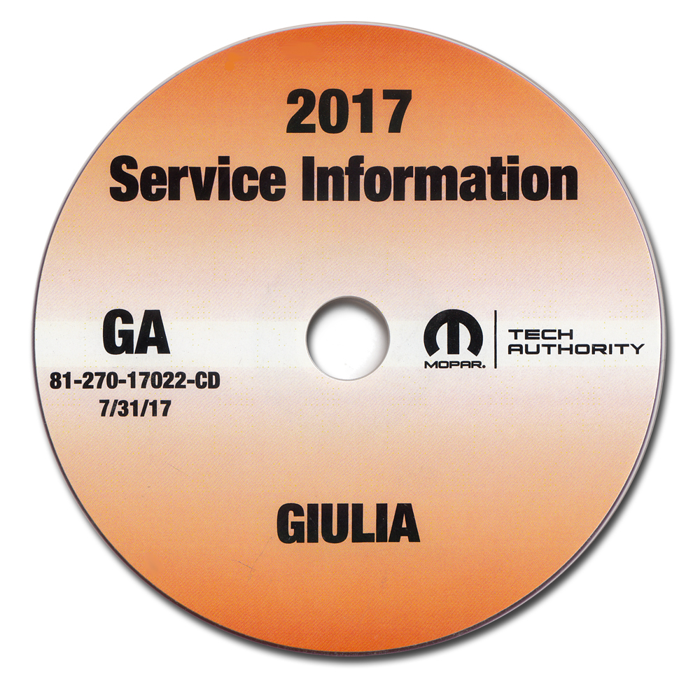 2017 Alfa Romeo Giulia Repair Shop Manual CD-ROM