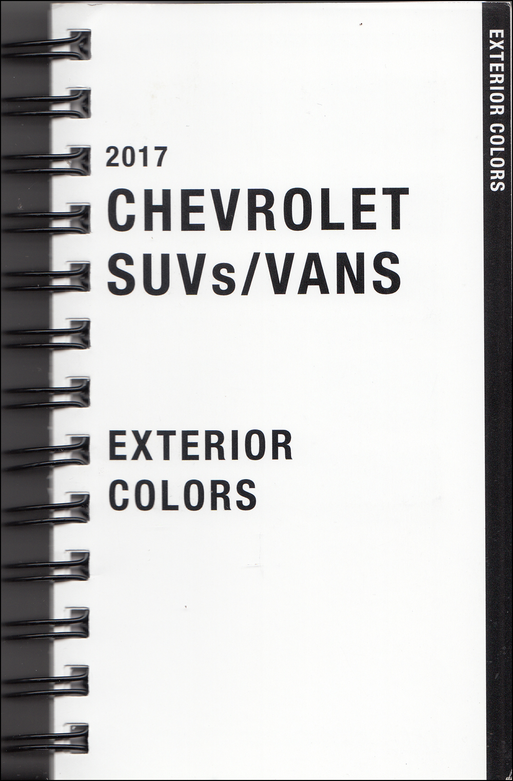 2017 Chevrolet SUV & Vans Data Book with Color & Upholstery Original