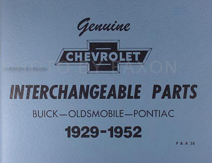 1941-1952 Chevrolet Buick Olds Pontiac Parts Interchange Book Reprint