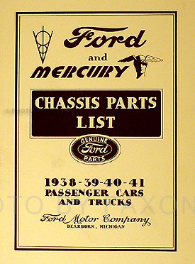 1938-1941 Ford and Mercury Chassis Parts Book Reprint Cars & Trucks