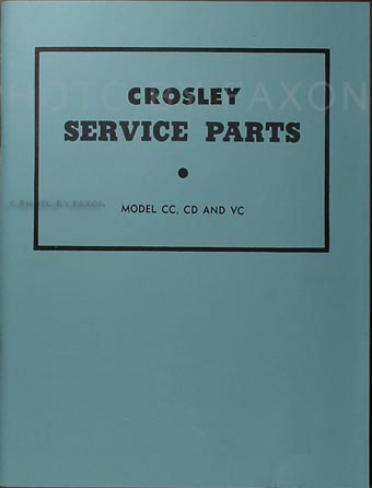 1946-1952 Crosley Parts Book Reprint