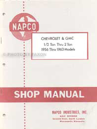 1956-1963 Chevy GMC NapCo 4x4 Pickup Truck Repair Shop Manual Reprint