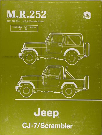 1984-1986 Jeep CJ-7 & Scrambler Shop Manual Original MR252