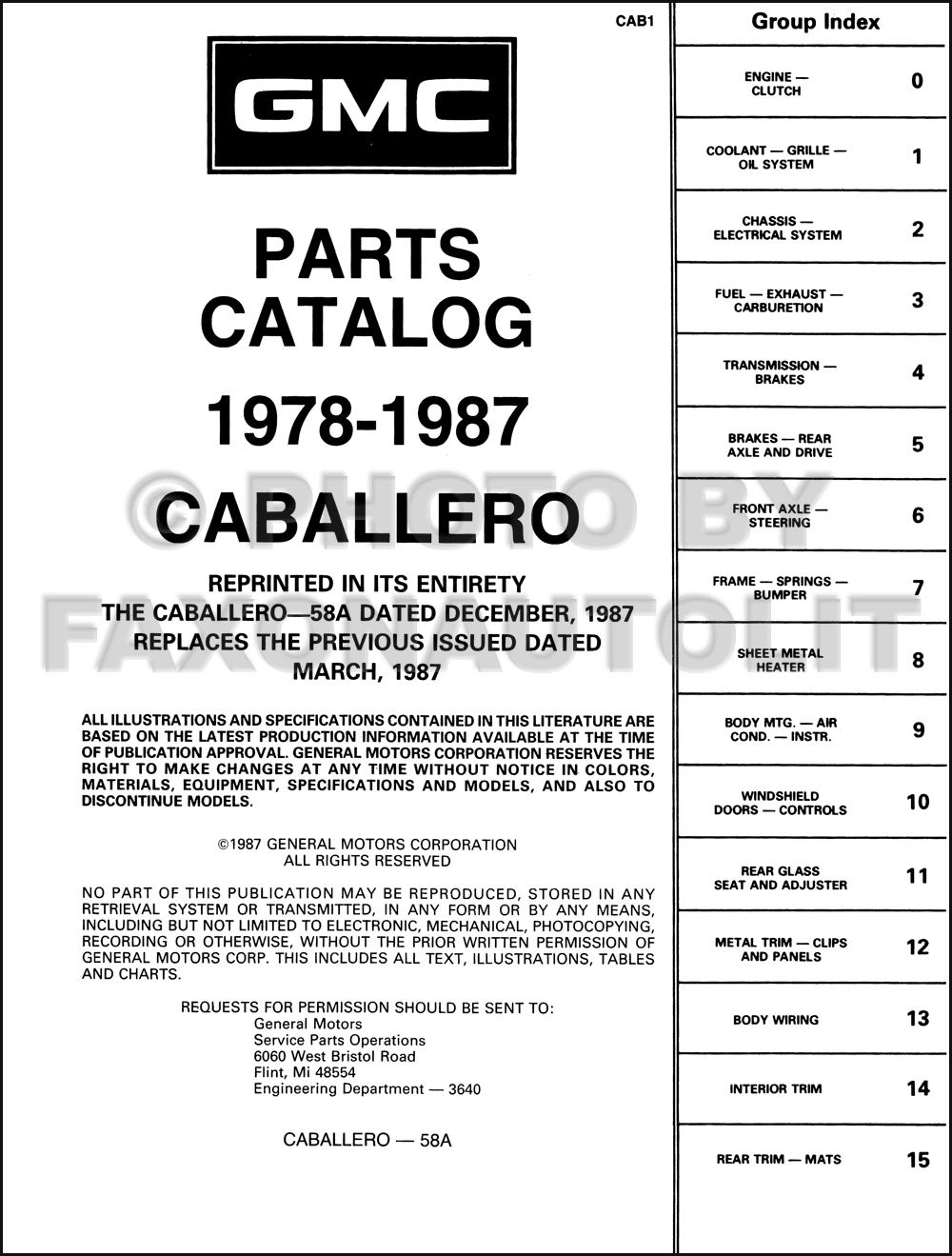 1978 1985 Gmc Caballero Parts Book Original 1983 Wiring Diagram Click On Thumbnail To Zoom