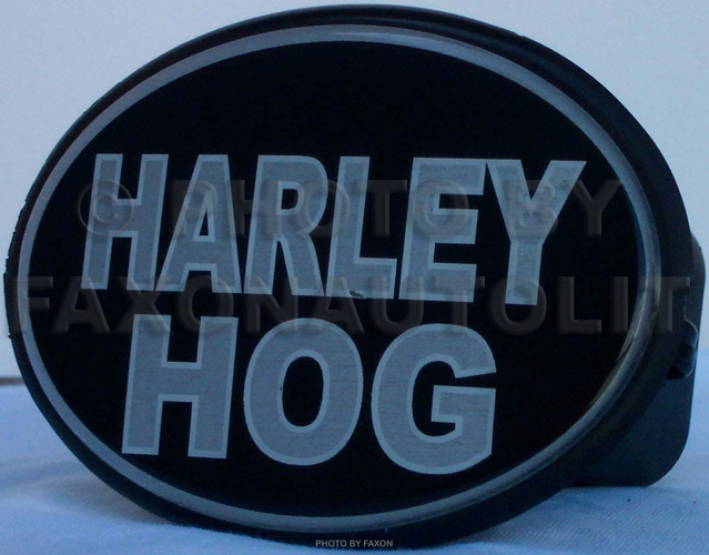 """Harley Hog"" trailer hitch cover"