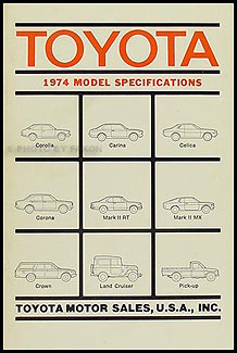 1974 Toyota Pickup Service Specs Manual Original No. 01660