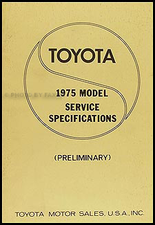 1975 Toyota Service Specs Manual Original No. 42463-1