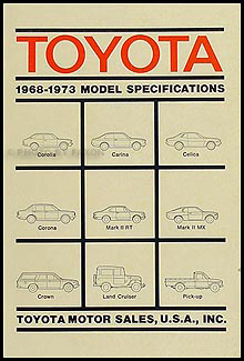 1969-1973 Toyota Service Specs Manual Original No. 01632