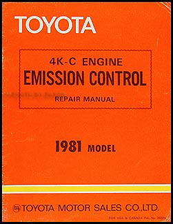 1981 Toyota Starlet Emission Control Manual Original