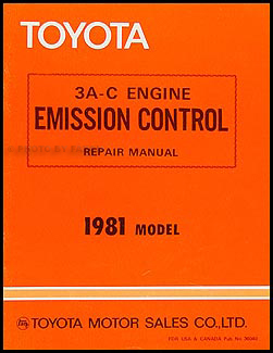 1981 Toyota Corolla Tercel Emission Control Manual Original No. 36040
