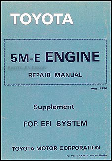 1979-1982 Toyota Engine Repair Shop Manual EFI Supplement (5M-E) Supra Cressida