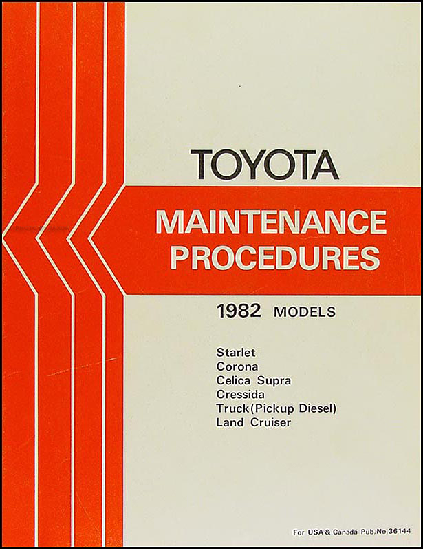 1982 Toyota Car & Truck Maintenance Procedures Manual Original
