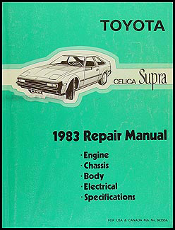 1983 Toyota Supra Shop Manual Original No. 38200A