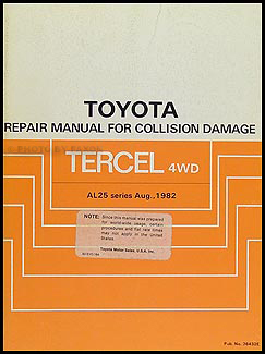 1983-1988 Toyota Tercel 4WD Station Wagon Body Repair Manual Original