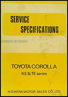 1972-1974 Toyota Corolla Service Specifications Manual Original