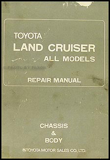 1974 Toyota Land Cruiser Chassis Repair Manual Original No. 98077-1
