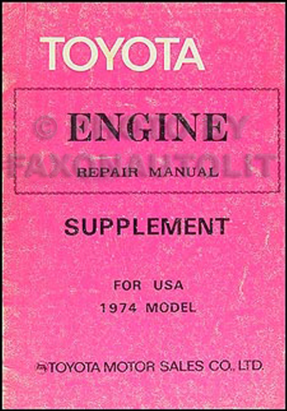 1974 Toyota Engine Repair Manual Original No. 98101