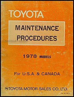 1978 toyota maintenance procedure manual original